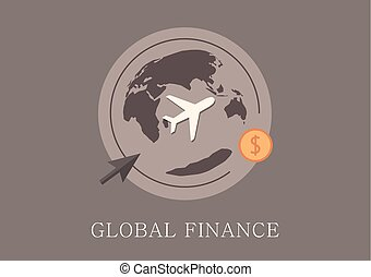 Modern and classic design global finance concept flat icon