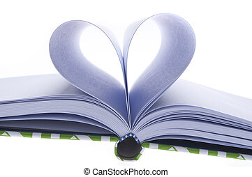 Blank Journal with Pages Folded in a Heart Shape in Shadow...