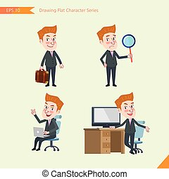 Set of drawing flat character style, business concept young...