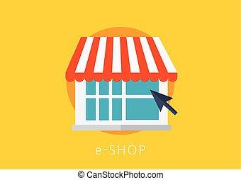 e-shop concept flat icon