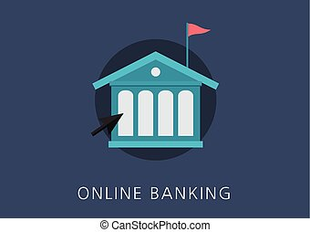 online banking concept flat icon