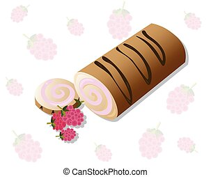 Roll cakes Vector with raspberry fruits. Sweets, dessert berry frosting delicious chocolate melt