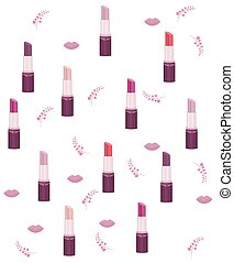 lipstick set collection pattern Vector Make up icons template