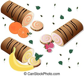 Roll cakes Vector with fruits. Sweets, dessert, Banan, berry, orange frosting