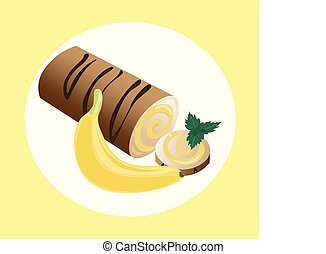 Roll cakes Vector with banana fruits cream. Sweets, dessert berry frosting delicious chocolate melt