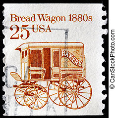 Bread Wagon 1880s - USA - CIRCA 1986: A stamp printed in the...