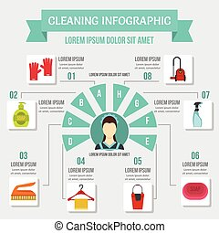 Cleaning infographic concept, flat style - Cleaning...