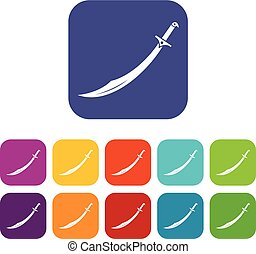 Scimitar sword icons set flat - Scimitar sword icons set...