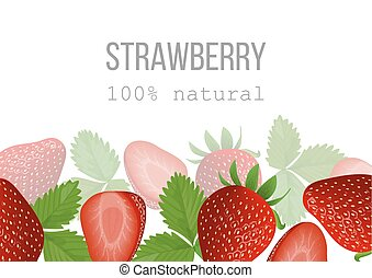 Ripe Strawberry poster. 100 percent natural. berries at the...