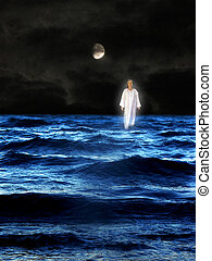 person - A white-dressed person walks on water