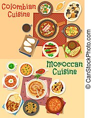 Colombian and moroccan cuisine icon set design - Colombian...
