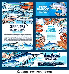 Fish and seafood, fishing club banner template set - Fresh...