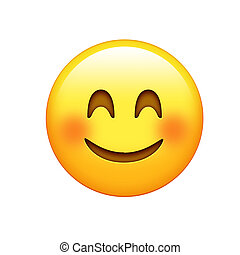 Isolated yellow face with red cheeks and smiling eyes icon
