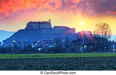 "Dawn over the castle Palanok - Mukachevo castle ""Palanok"" -..."