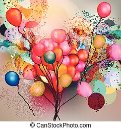 Abstract vector background with balloons and nk colored...