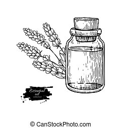 Lavander essential oil bottle and bunch of flowers hand...