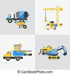 Digital vector yellow construction building tracks icons...