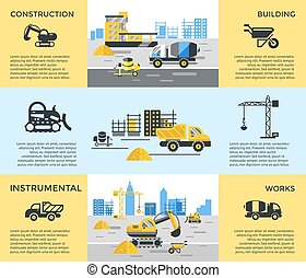 Digital vector blue yellow construction building tracks...