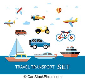 Digital vector blue red travel transport