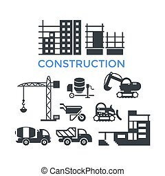 Digital vector black construction building tracks icons with...