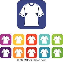 Raglan tshirt icons set flat - Raglan tshirt icons set...
