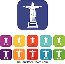 The Christ the Redeemer statue icons set flat - The Christ...