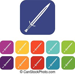 Long sword icons set flat - Long sword icons set vector...
