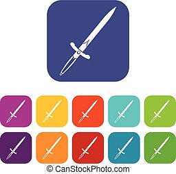 Sword icons set flat - Sword icons set vector illustration...