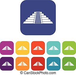 Ziggurat in Chichen Itza icons set flat - Ziggurat in...