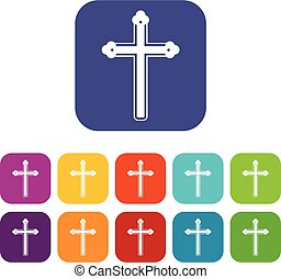 Holy cross icons set flat - Holy cross icons set vector...
