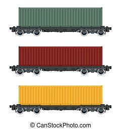 Set of Cargo Railway Containers, Green Red and Yellow...