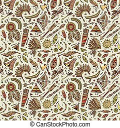 Vector cartoon seamless pattern with tribal elements