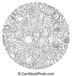 Vector set of Russian food cartoon doodle objects - Line art...