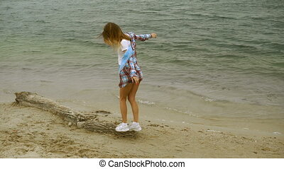 charming young blonde on a seashore - charming young blonde...