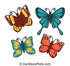 Butterflies in bright colors set isolated on white -...