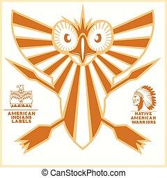 American indian vector logos - vector illustration on light...
