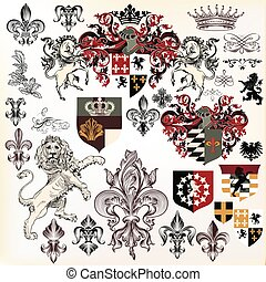 Collection of heraldic elements with lion, shield, griffin...