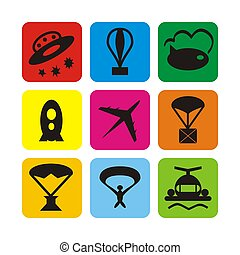 Air transport icons - Illustration set of icons of air...