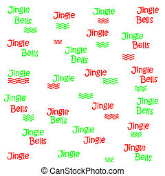 jingle bells poster - red and green jingle bells on white...