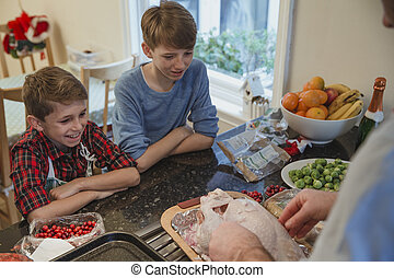 Watching Dad Cook Christmas Dinner - Two brothers are...