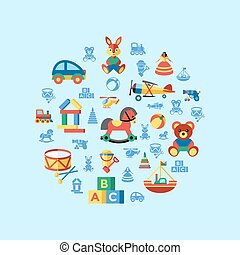 Digital vector blue yellow children toys icons with drawn...
