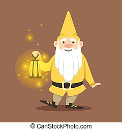 Cute dwarf in a yellow jacket and hat standing with small...