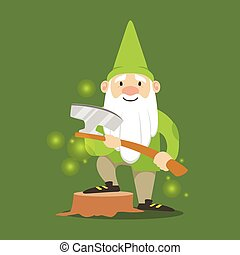 Cute dwarf in a green jacket and hat standing with axe vector Illustration