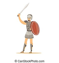 Warrior character, man in historical armor and helmet holding wooden shield and sword vector Illustration