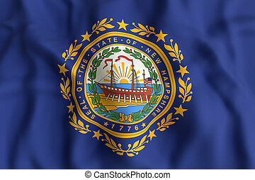 New Hampshire State flag - 3d rendering of a New Hampshire...