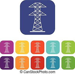 High voltage tower icons set flat - High voltage tower icons...