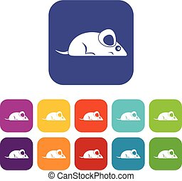 Pet mouse icons set flat