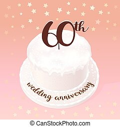 60 years of wedding or marriage vector icon, illustration....