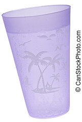 Purple Tropical Cup of Seltzer Water Isolated on White with...