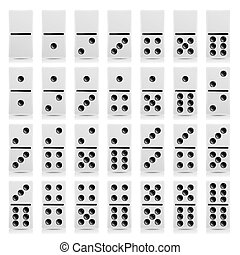 Domino Set Vector Realistic Illustration. White Color. Full...